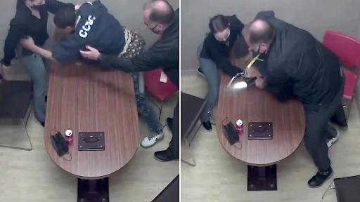 Moment suspected child murderer grabs cop's gun in interview room