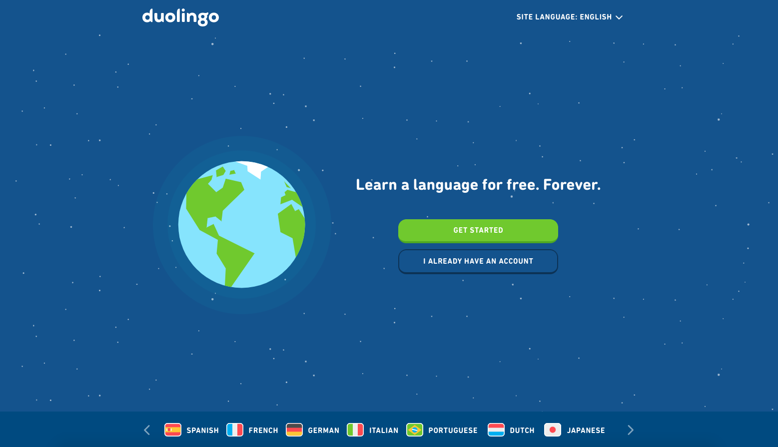 Duolingo opening landing page