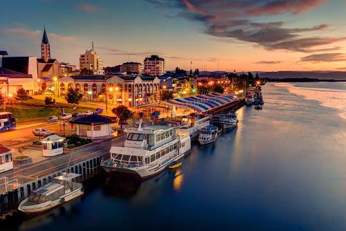 Valdivia by Charles Brooks - City,  Street & Park  Skylines ( clouds, valdivia, market, night, long exposure, cityscape, boat, dusk, los rios, city )