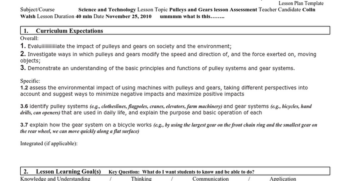 Lesson Plan Grade 4 Science Pulleys And Gears Assessmentc
