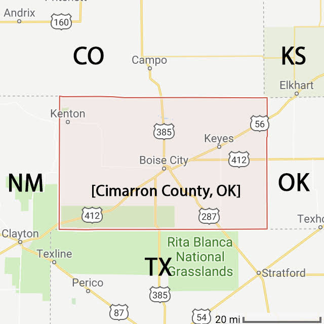 Cimarron County, OK map