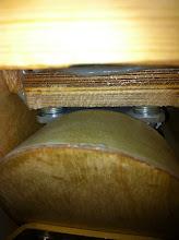 Photo: 4 rondelles sur les 5 vis du bas pour l'ajustement de la dérive