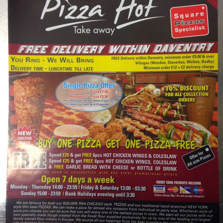 Pizzahot Daventry Kebab And Pizza House Fried Chicken