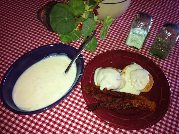 You Can't Beat Homemade Biscuits And Gravy!  On This Day, I Didn't Want Eggs, But Bacon Sounded Wonderful With This Meal.  It's One Of My Family's Favorites.