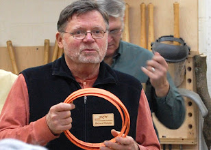 Photo: Richard Webster talked about band sawing techniques.  Here he shows the Wood Slicer blade that he uses all the time.