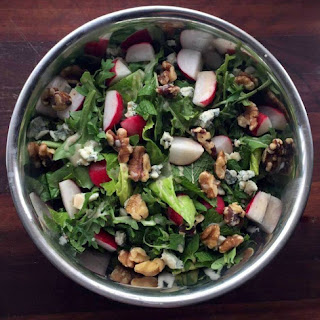 Arugula Salad of Mint, Radish, Walnut, and Blue Cheese