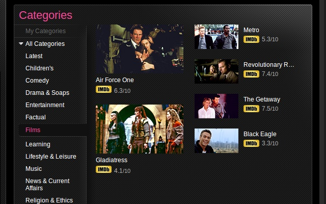 iPlayer IMDB film ratings