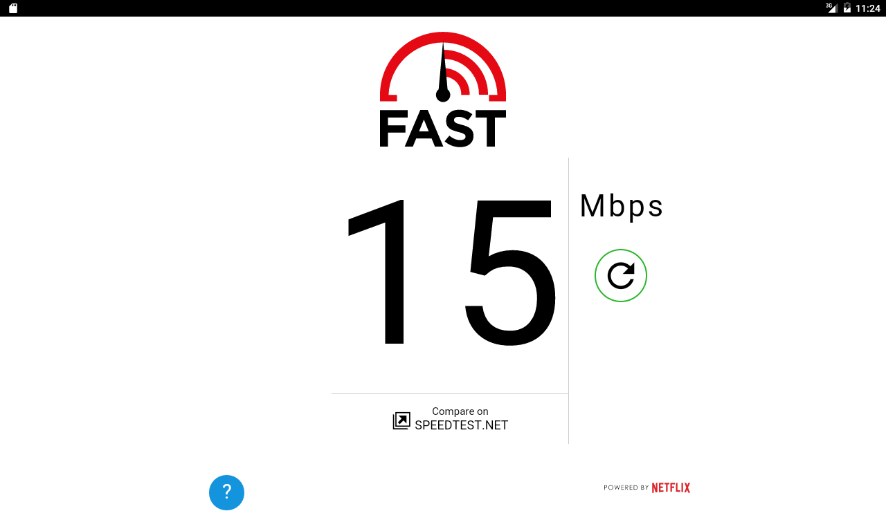 FAST Speed Test: captura de pantalla
