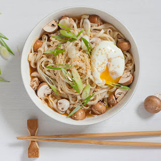 Miso Udon with soft egg, mushrooms and sesame seeds.
