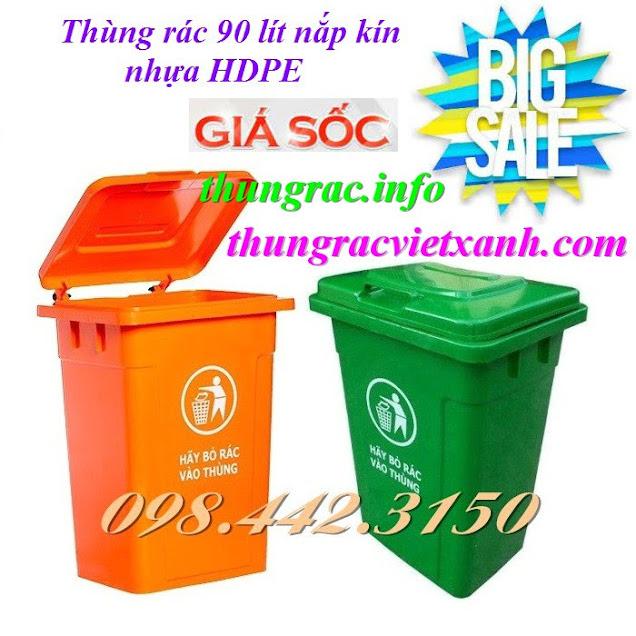 Thùng rác 90 lít nắp kín