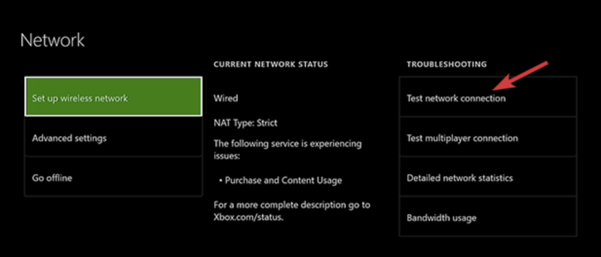 Test network connection in Xbox One