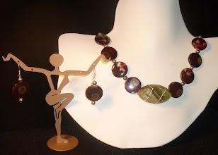 "Photo: <BEREHYNYA> {Great Goddess Protectress} unique one-of-a-kind statement jewellery by Luba Bilash ART & ADORNMENT  TROPICAL PARADISE - ТРОПІЧНИЙ РАЙ - ""green onyx"" (chrysoprase) pendant, shell beads, FW pearls, SS, silver plate SOLD/ПРОДАНИЙ"