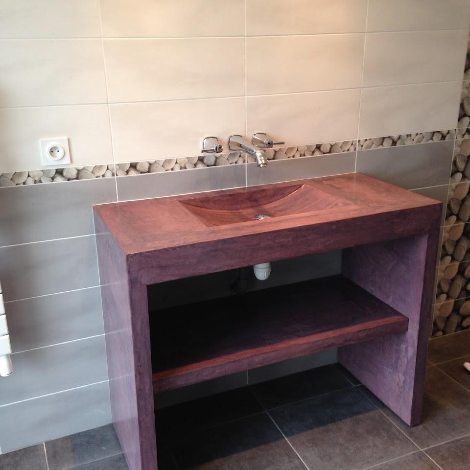 nouvelle realisation sur mesure en beton cire meuble vasque pour salle de bain en beton cire. Black Bedroom Furniture Sets. Home Design Ideas