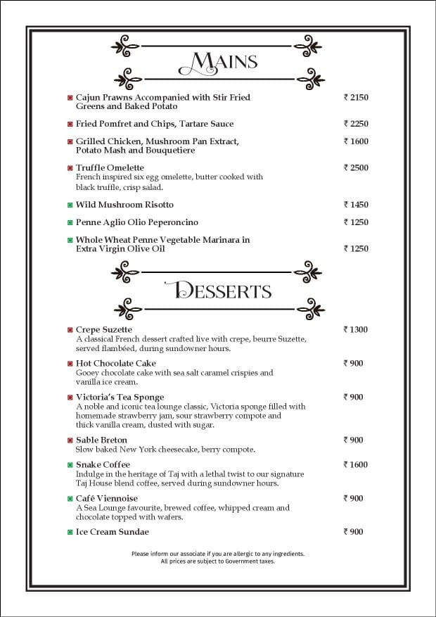 Sea Lounge - The Taj Mahal Palace menu 22