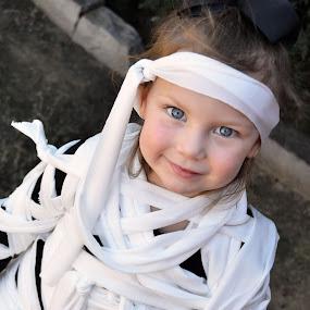 Mummy Girl by Jessica Simmons - Babies & Children Child Portraits ( spooky, blue eyes, child portrait, mummy, october, smile, halloween,  )