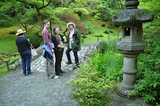 Photo: Ida Freilinger (facing away), Darcie Gurley, Erica Howard, and Carole Slesnick at the Seattle Japanese Garden on June 23, 2013.