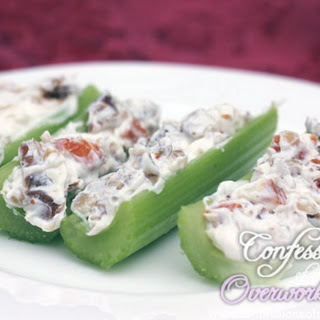 Celery with Blue Cheese Spread & Dried Fruit.