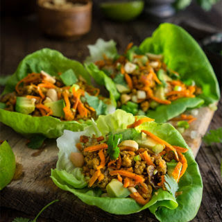 Spiced Ground Turkey Lettuce Wraps {avocado + Peanuts}.