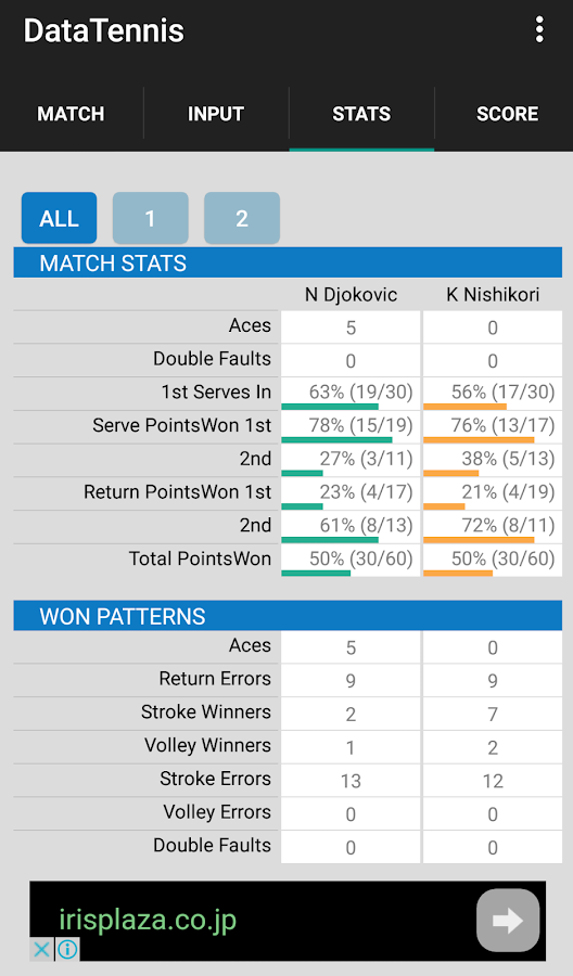 Data Tennis for keeping scores- screenshot
