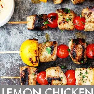 Lemon Chicken Skewers with Harissa Yogurt Sauce