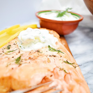 Cedar Plank Salmon with Cucumber Yogurt Dill Sauce.