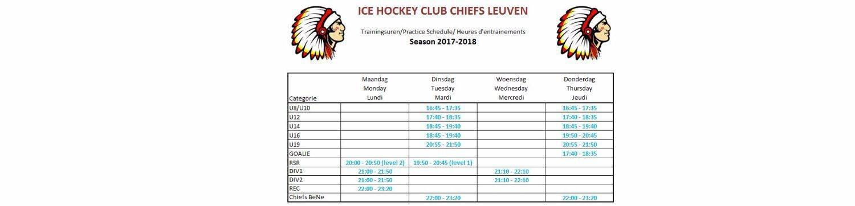 Trainingsschema seizoen 2017-2018 beschikbaar