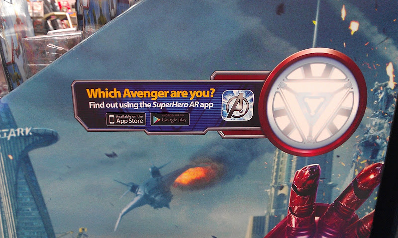 Photo: Before we even made it to the toys aisles, we found these signs about the SuperHero AR app.