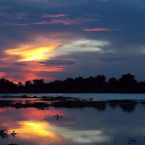 The Evening Blues by Udaybhanu Sarkar - Landscapes Waterscapes ( waterscape, blue, sunset, dusk, evening, river,  )