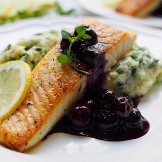 Pan-Seared Halibut with Fresh Blueberry Sauce.