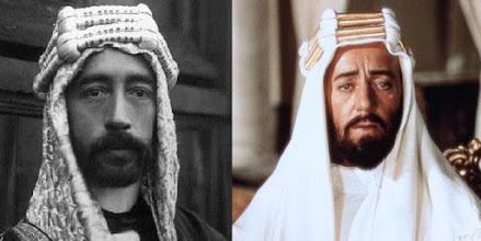 """Photo: O real Príncipe (Emir) Faisal e Alec Guinness interpretando-o em """"Lawrence da Arábia""""."""