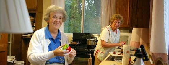 Photo: Sr. LaSallette and Sr. Christine get supper ready, Boston, MA.