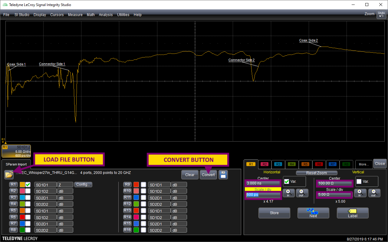 Teledyne LeCroy Signal Integrity Studio interface with TE Connectivity's backplane loaded and important controls highlighted