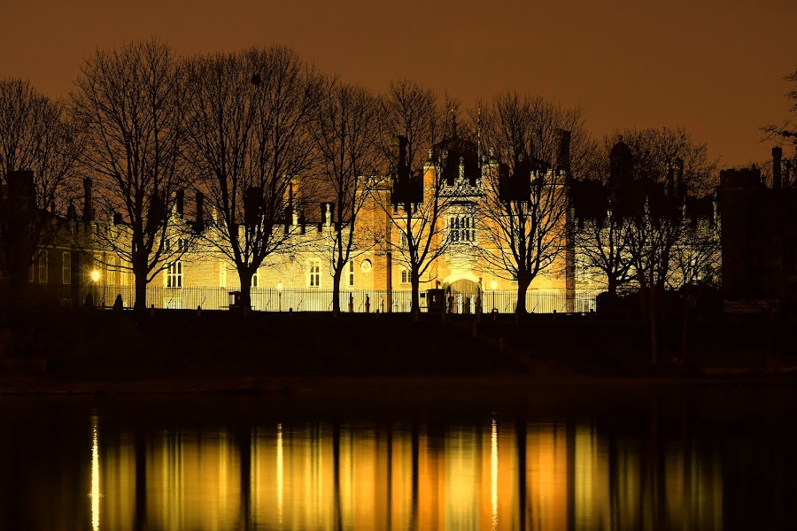 Hampton Court 500th Anniversary  by Jon Raffoul - Buildings & Architecture Public & Historical ( hamptoncourt hamptoncourtpalace river reflections trees tudor kinghenry nightexposure timeexposure nightshot, , mood factory, color, lighting, moods, colorful, light, bulbs, mood-lites )