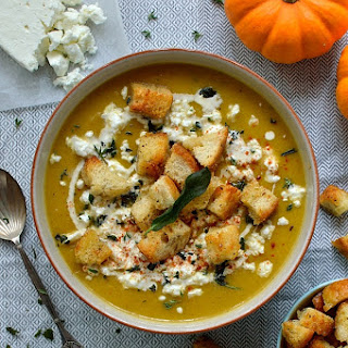 Spiced Roast Pumpkin Soup With Garlic Croutons, Feta & Crispy Fried Sage