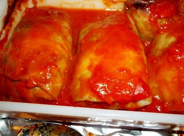 Cover with remaining sauce. Cover with foil.  If you have leftover meat, make small meatballs...