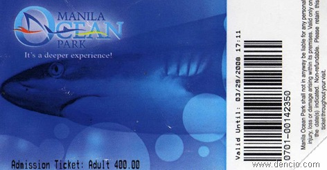 Ocean Park Ticket Php 400.00 (approx US$10)