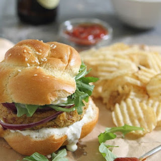 Spicy Bacon Chickpea Burgers.