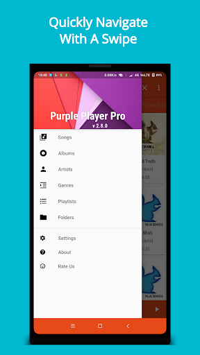 Purple Player Pro: Music Player App app for Android screenshot
