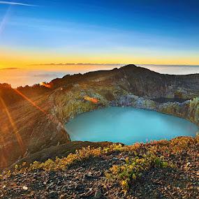 SUNRISE IN LAKE KELIMUTU by Jasen Tan - Landscapes Mountains & Hills