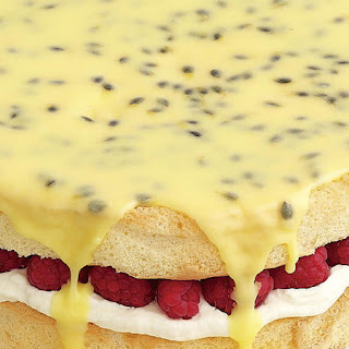 Raspberry Sponge Cake with Passionfruit Icing