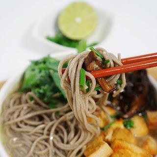 Soba Noodles with Spicy Tofu and Shiitake Mushrooms in Tahini Broth