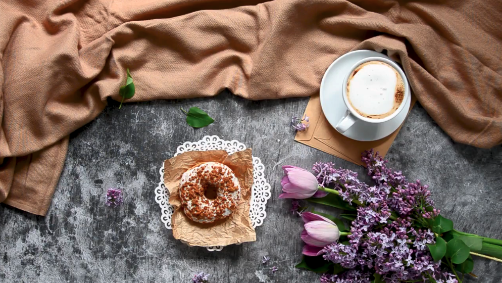 coffee flowers and donut