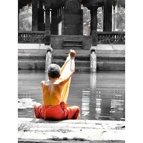 Washing at the templeKerala by Mik Oliver - People Portraits of Men ( India, Cochin, fortkochi, washing, temple, hindu, hinduism, coloursplash, backpacking, travellingtattooist, tattooist, tattooartist, norwichtattooist, religion, inkedmik )