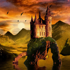 Castle at Sunset by Charlie Alolkoy - Illustration Places ( reflection, sunset, sea stack, sea, castle, lake, stack, birds )