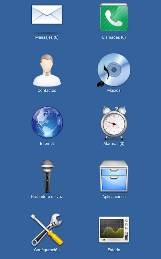 Ejemplo de la apariencia de una pantalla mostrada con Blind Communicator
