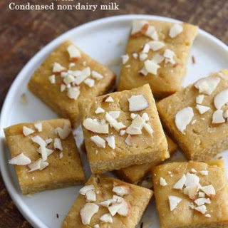 Besan Burfi with Condensed Milk (Dairy-free) - Chickpea flour fudge