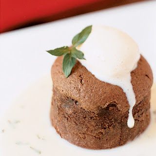 Chocolate Soufflé Cakes with Vanilla-Thyme Ice Cream.