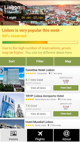 android Lisbon Hotels and Flights Screenshot 0