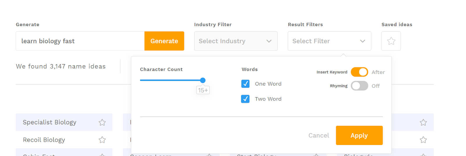 Choose Insert Keyword and avoid Rhyming in the Result Filter and click Apply.