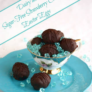 Strawberry Crème Easter Eggs (Sugar-Free, Dairy-Free, Vegan, Candida-Friendly with Nut-Free Option).